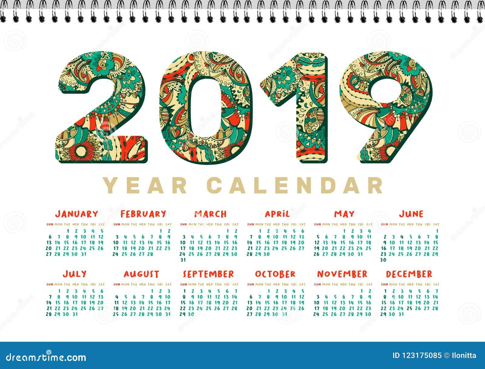 2019 Desk Calendar Vector Horizontal A4 White Printable Template