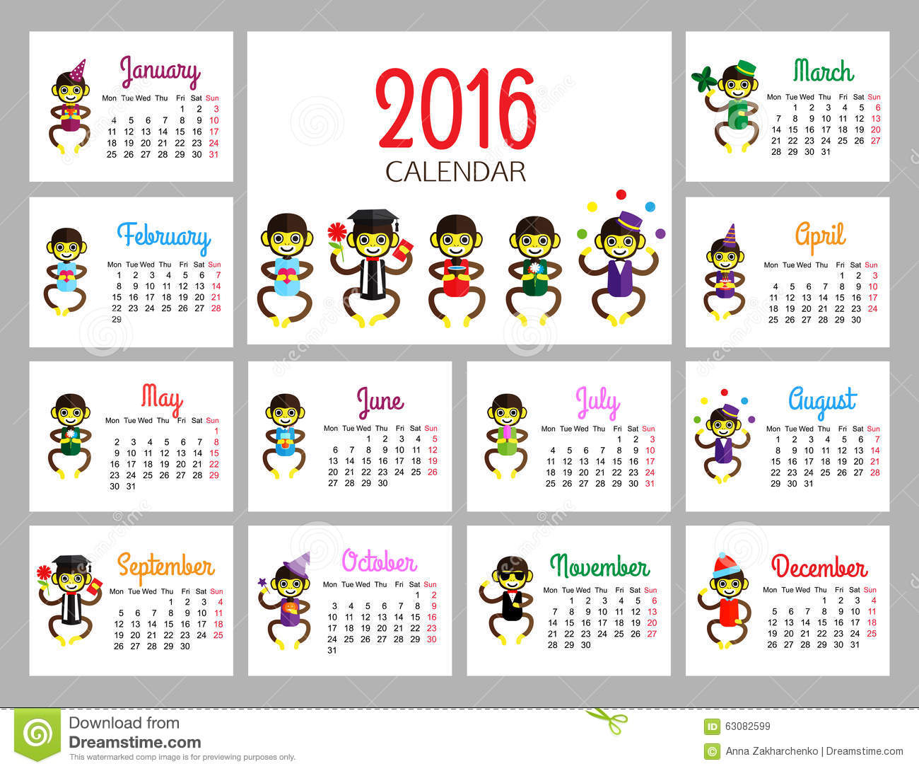 Kids Desk Calendar : Desk calendar vector print template with funny stock