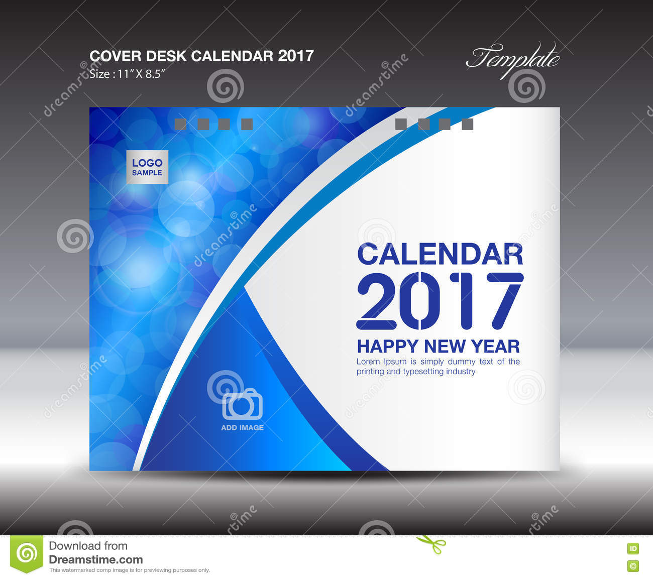 Cover Calendar Design Vector : Desk calendar for year blue cover
