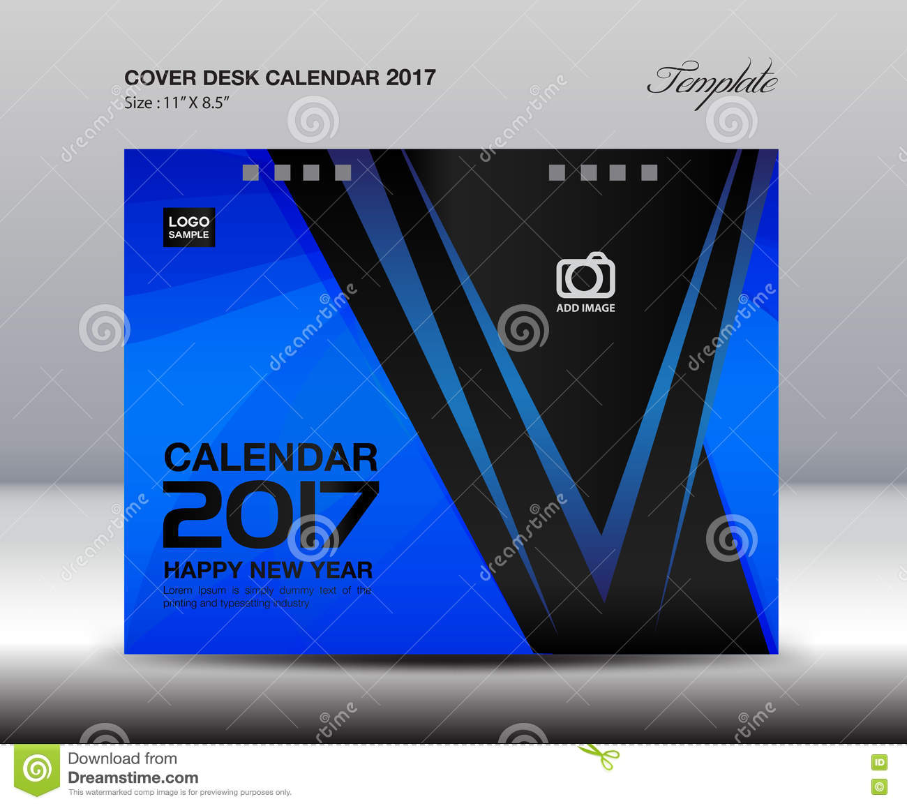 Book Cover Template Year ~ Desk calendar for year blue cover