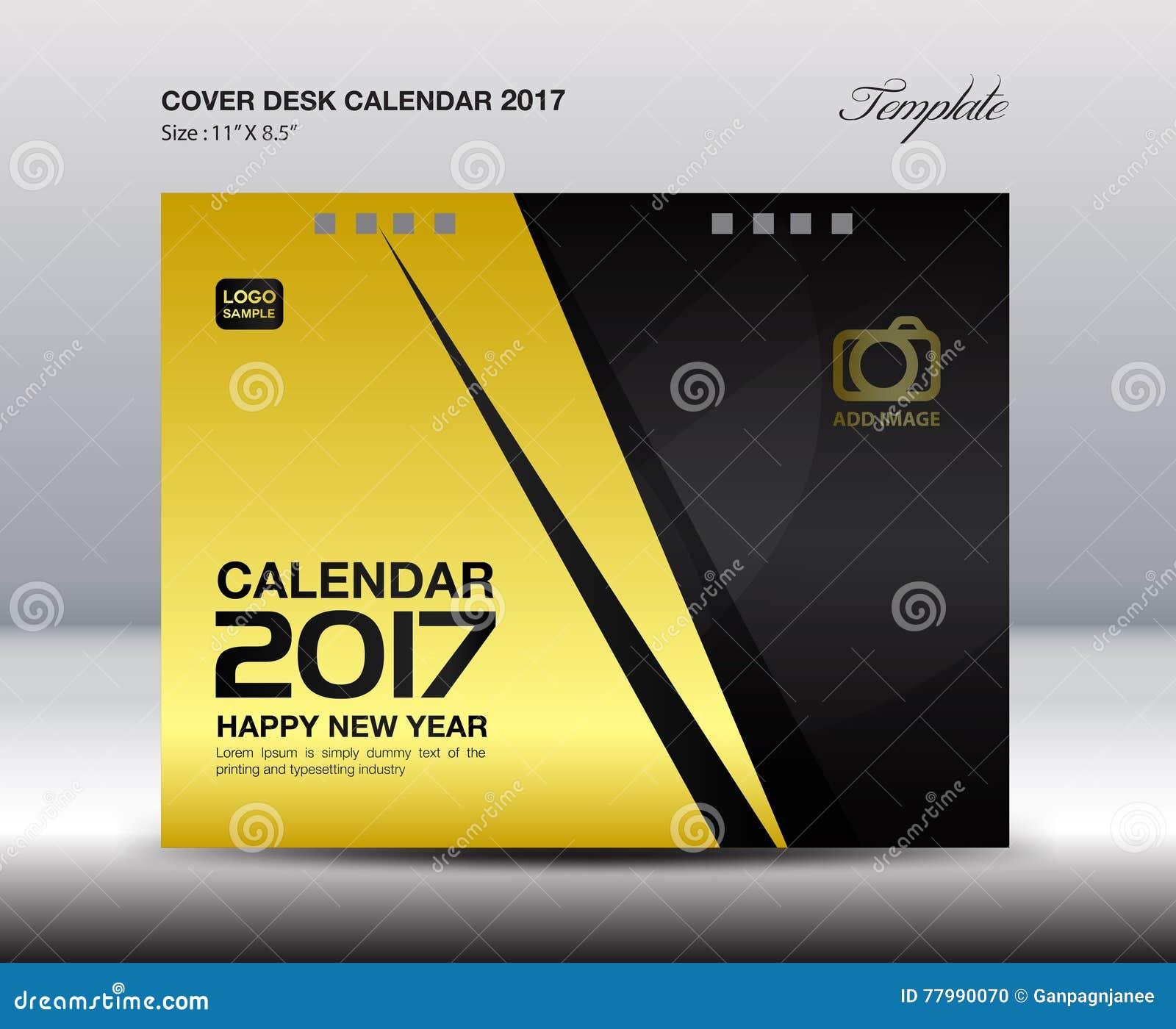 Cover Calendar Design Vector : Desk calendar for year gold cover