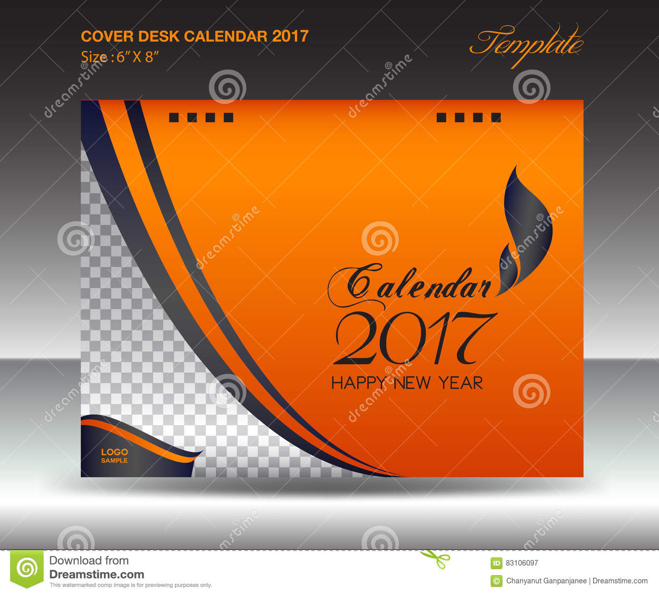 Cover Calendar Design Vector : Desk calendar year size inch horizontal orange