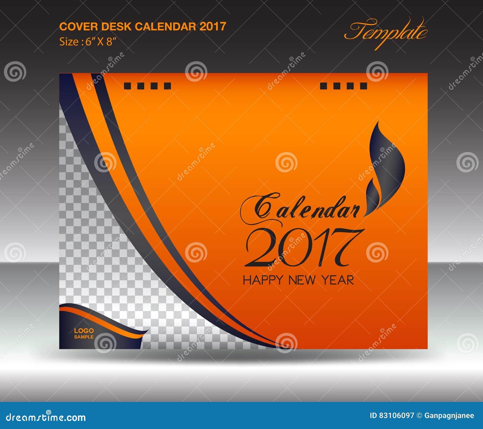 Calendar Cover : Desk calendar year size inch horizontal orange
