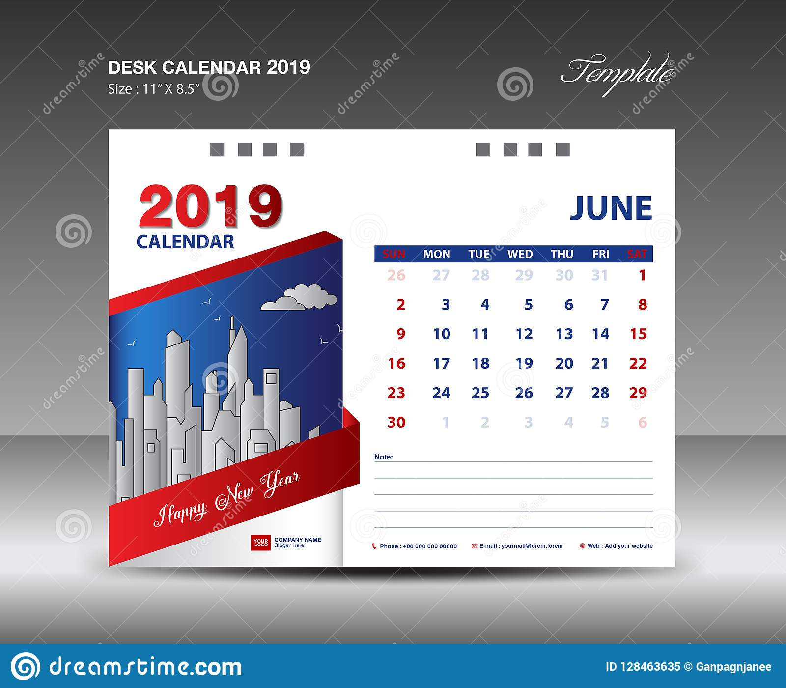 Desk Calendar 2019 Year Template Vector Design, JUNE Month ...