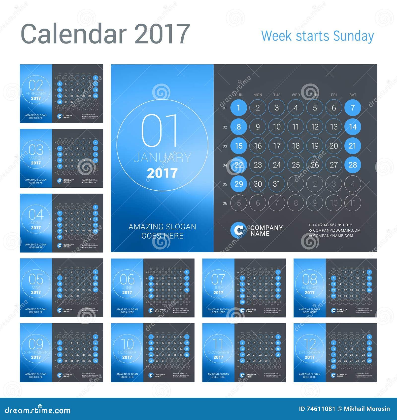 Year Calendar Numbers Template : Desk calendar for year vector design print template