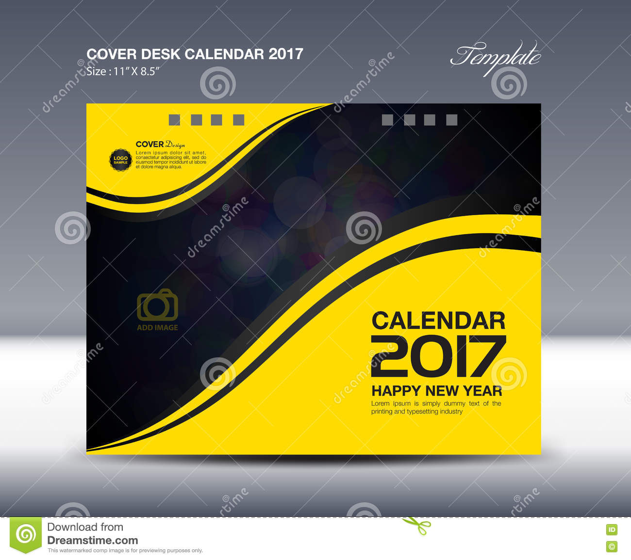 Calendar Cover Design 2014 : Desk calendar for year yellow cover