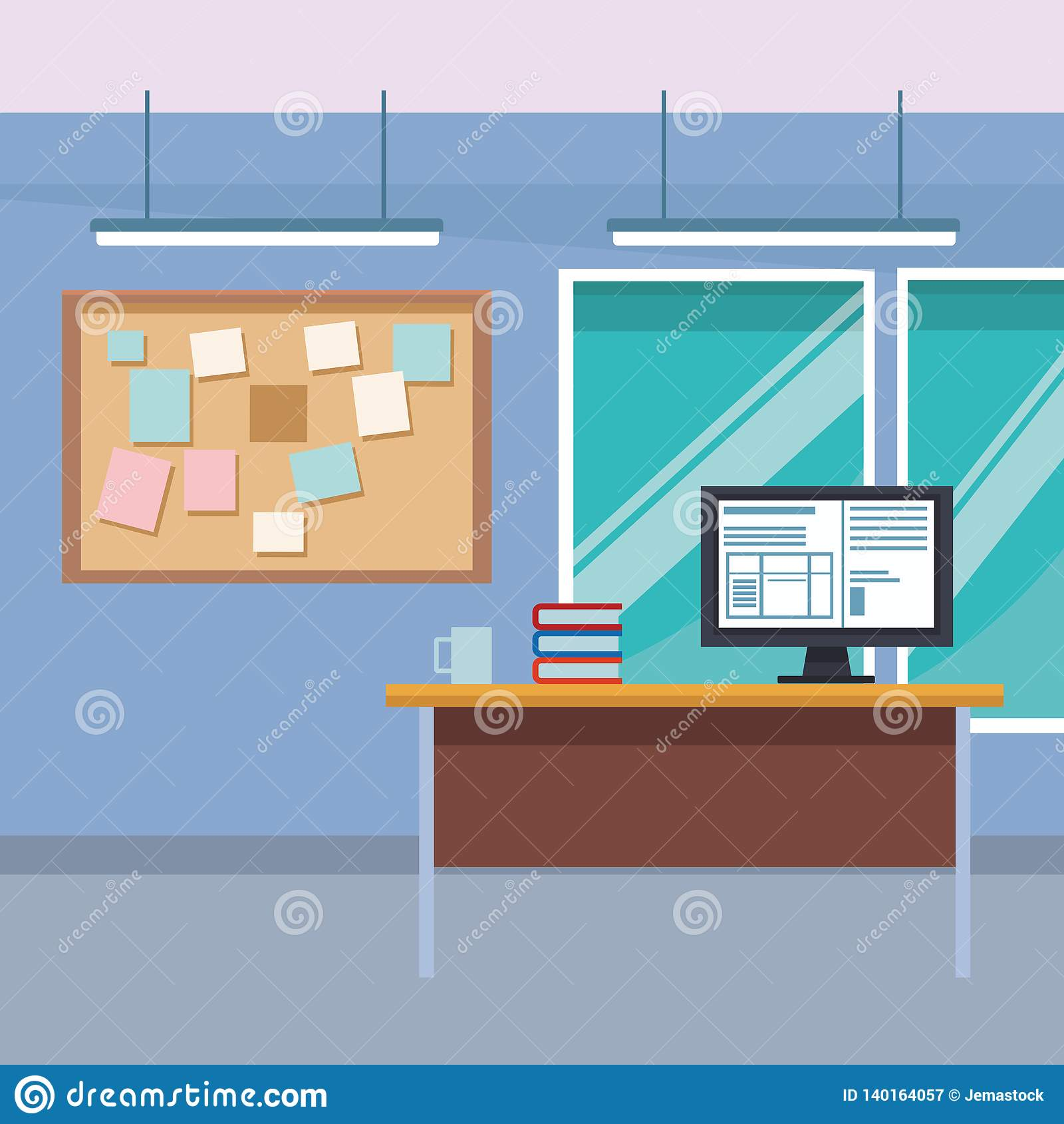 Desk Computer Furniture Decoration Stock Vector Illustration Of