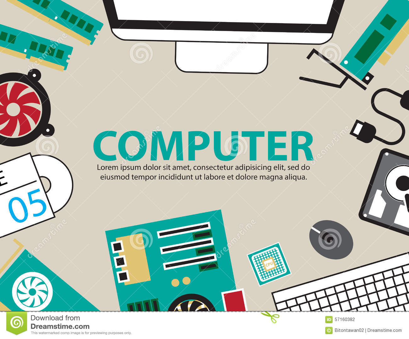 Desk Computer Hardware ,vector Background Stock Vector - Image ...