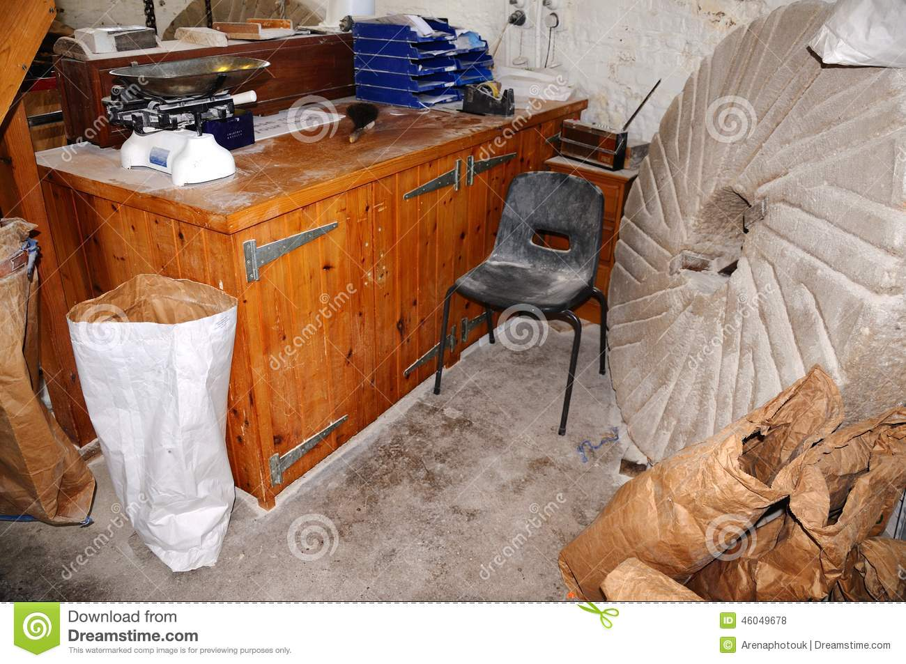 Desk And Grindstone In Windmill Editorial Stock Photo