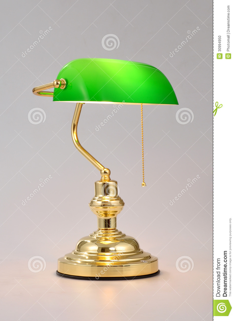 Classic Banker Desk Lamp With Gold Pull Chain Isolated On White Background