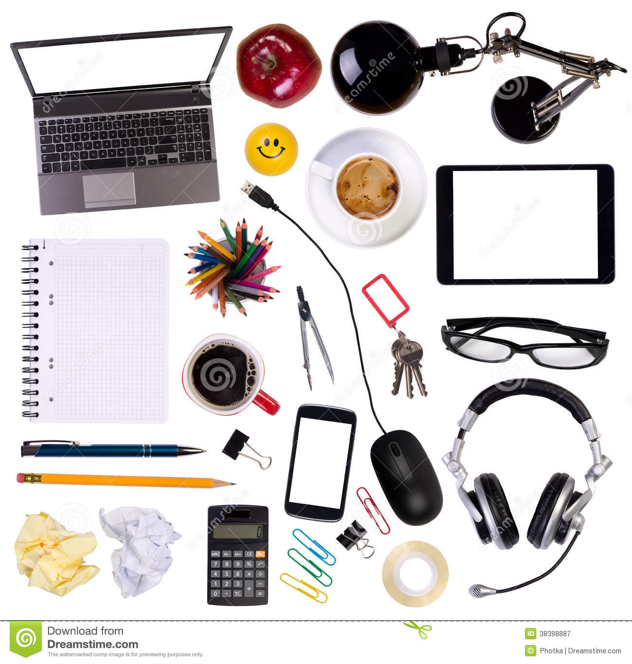Desk Top View laptop tablet phone desk top view stock photos, images, & pictures