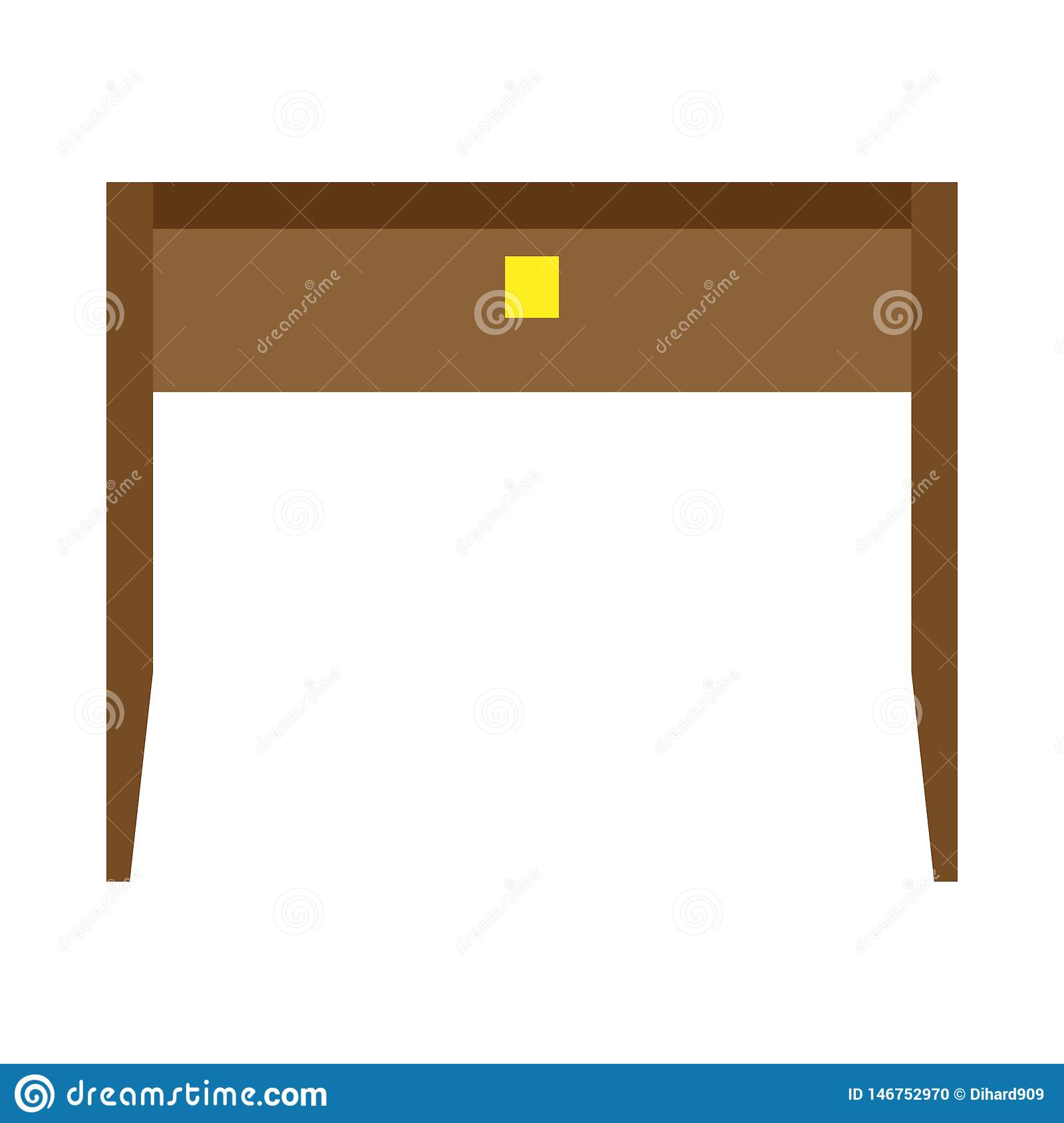 Desk office front view vector table. Business wooden workplace isolated flat icon