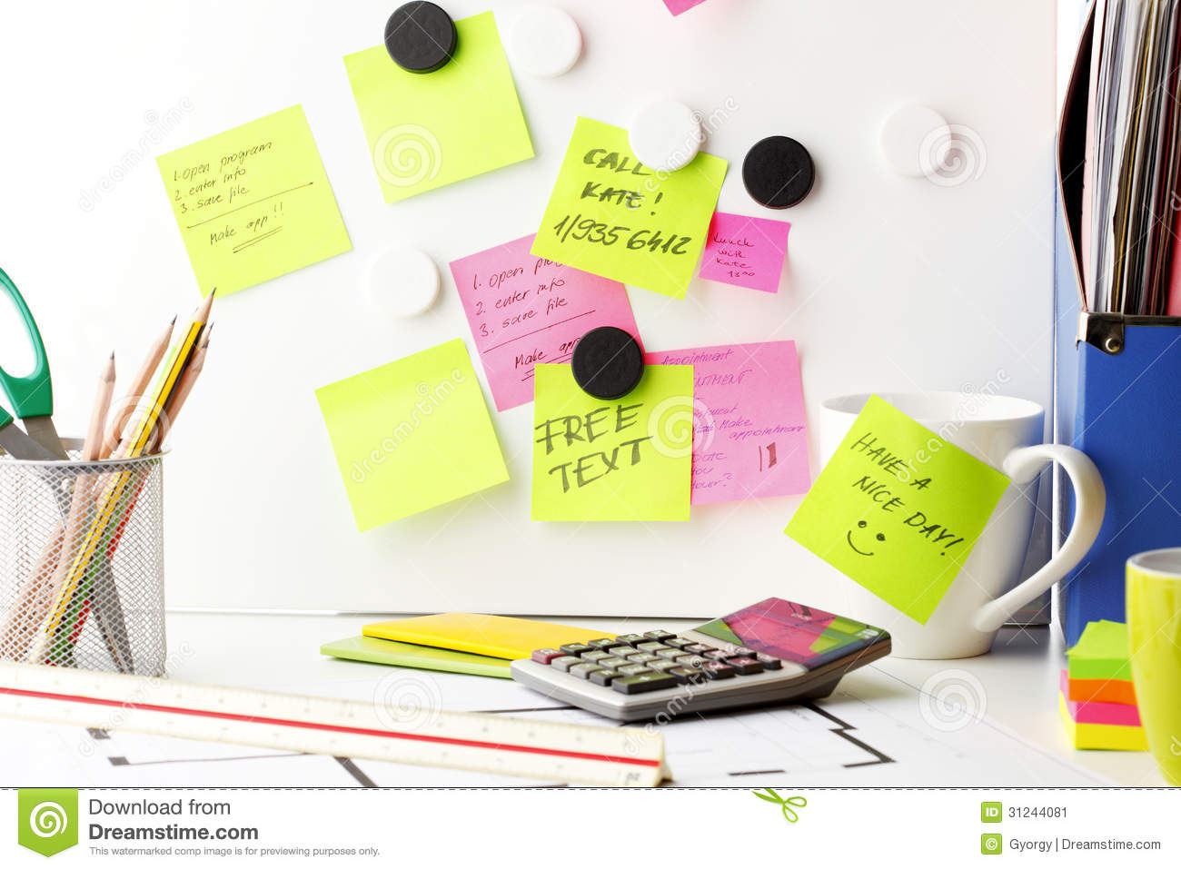 desk with 39 post it 39 notes stock image image 31244081. Black Bedroom Furniture Sets. Home Design Ideas