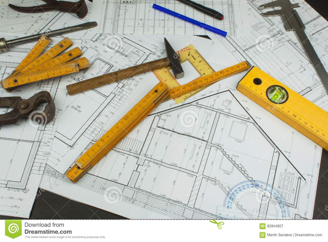 Desk Project Supervisor Plans Of Building Architectural Schematic Floor Plan Designed On The Drawing