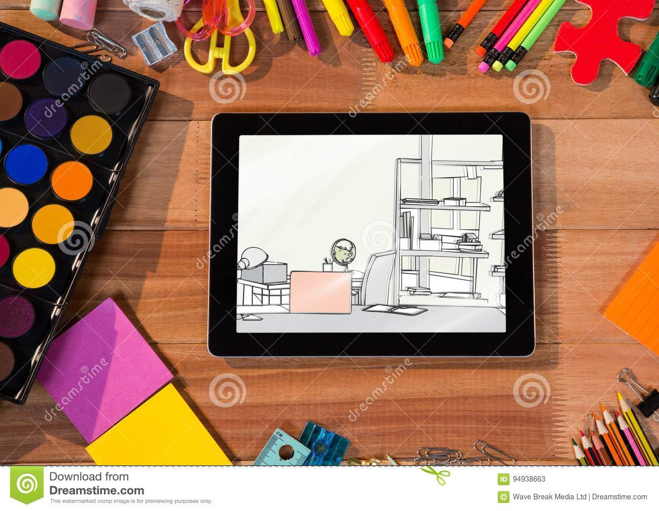 office drawing tools. Desk With Tablet And Drawing Tools. On The A Draw Of Office Stock Illustration - Generated, Binder: 94938663 Tools C