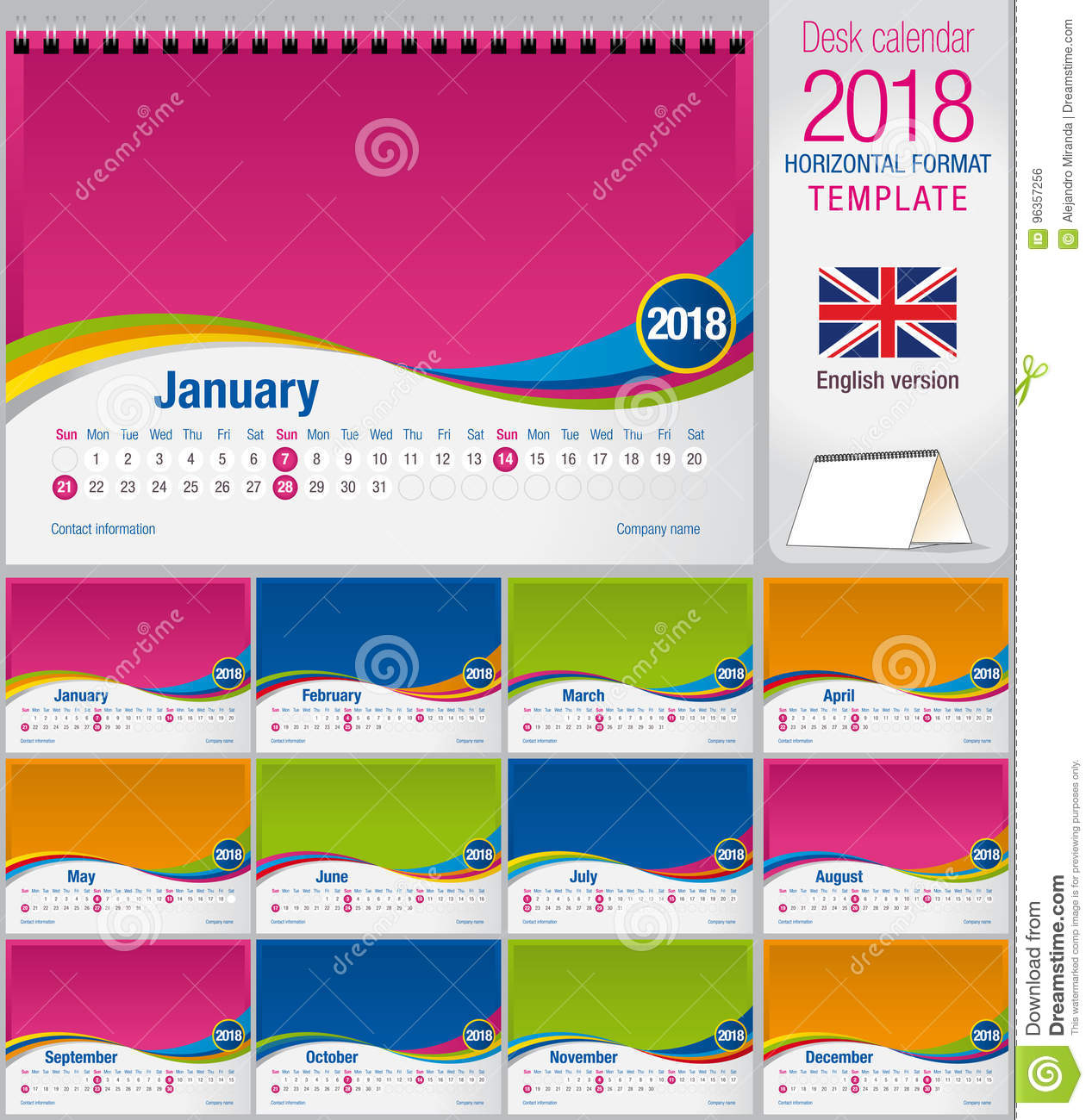 Desk triangle calendar 2018 colorful template. Size: 210mm x 150mm. Format A5. Vector image