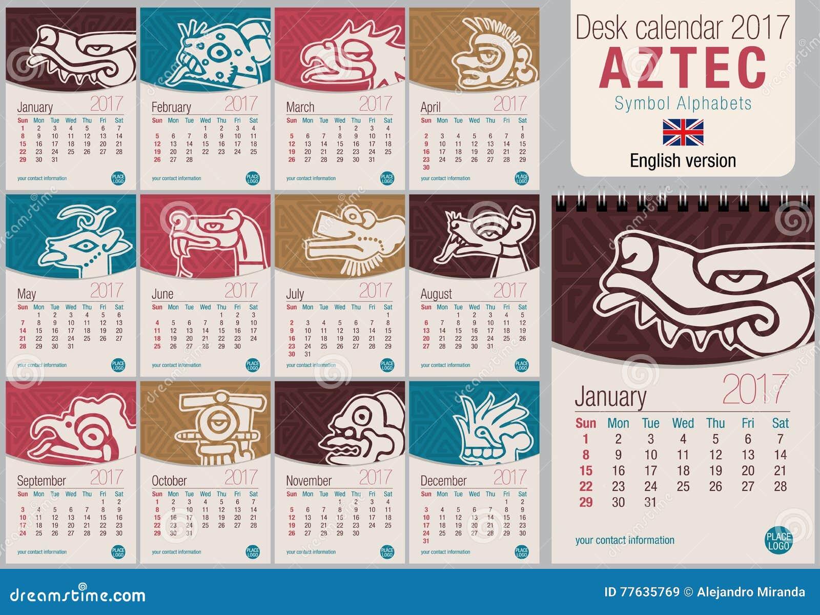 Table Calendar Size : Desk triangle calendar template with aztec symbols