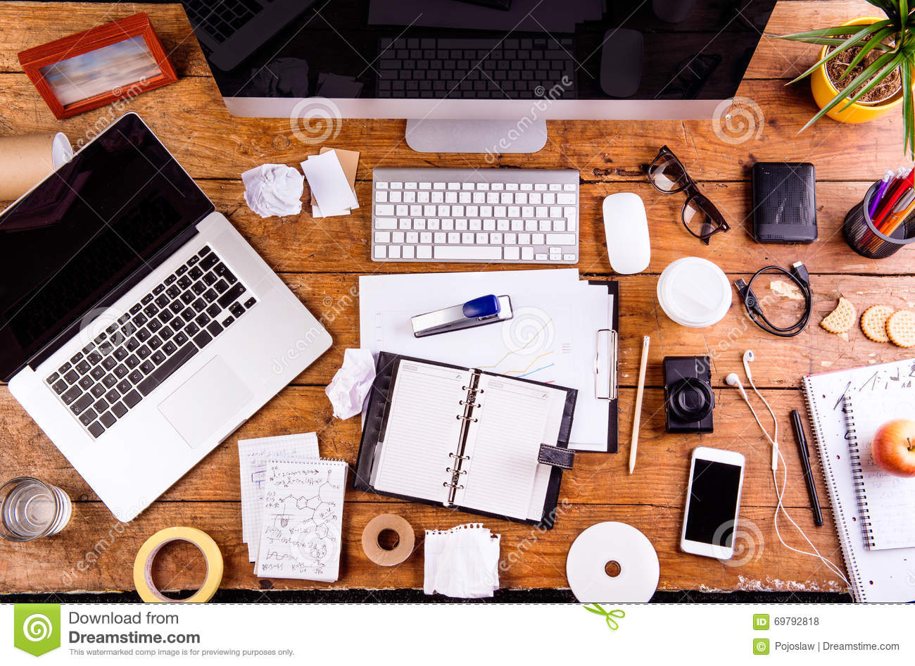 Desk With Various Gadgets And Office Supplies Flat Lay Stock Photo Image Of Apple Plant