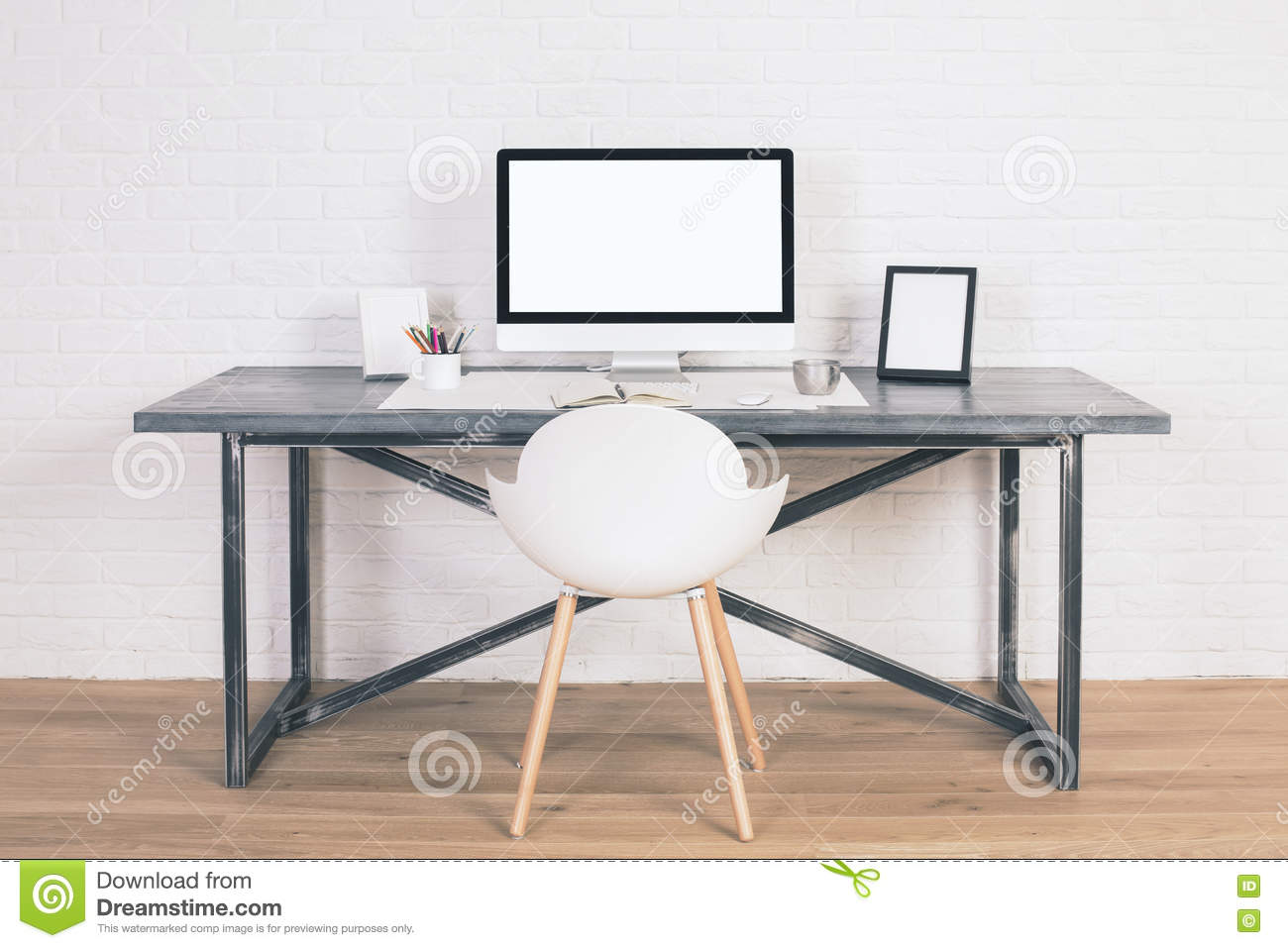 Desk with white monitor stock image. Image of computer - 71055937