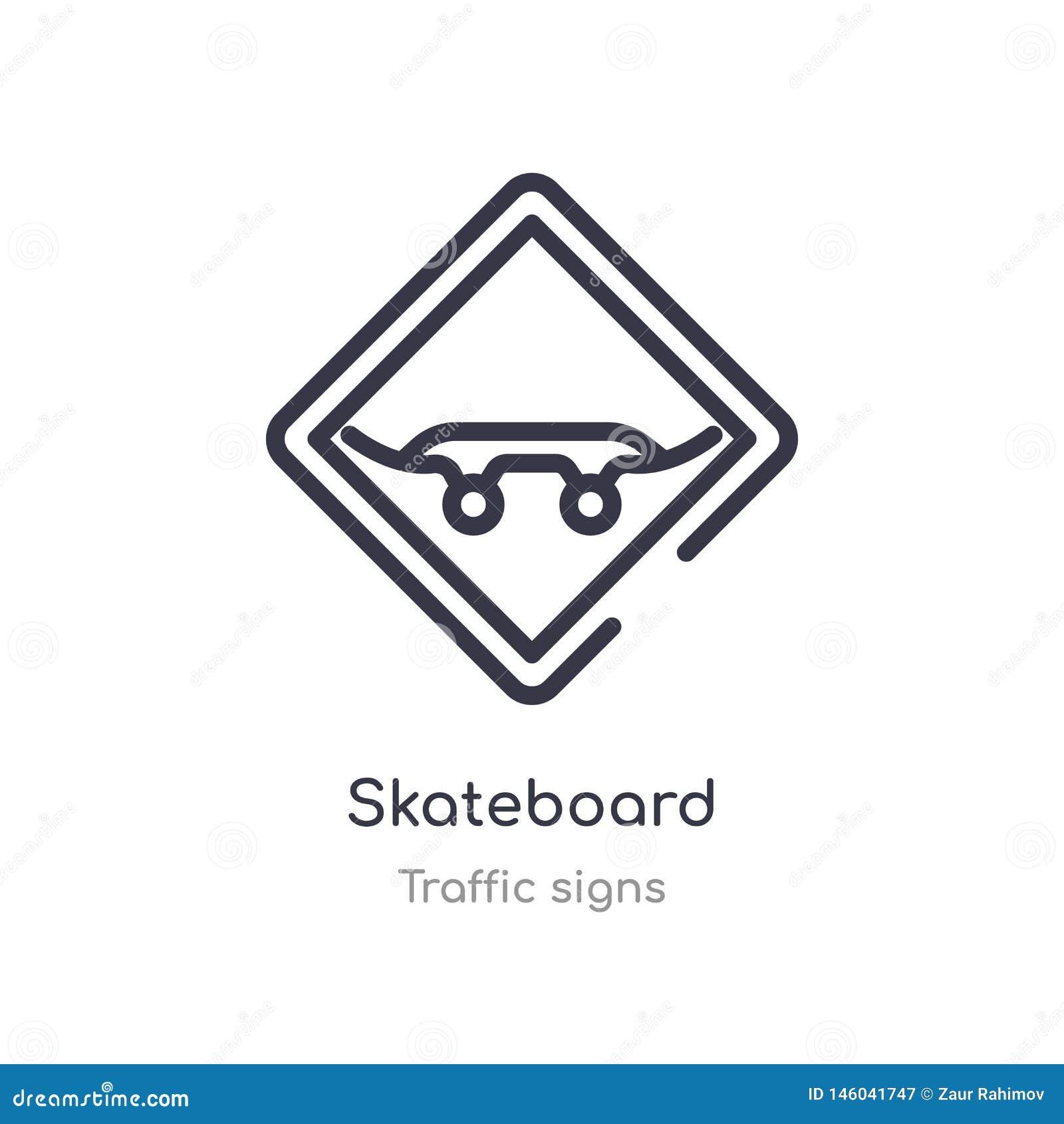 Deskorolka konturu ikona odosobniona kreskowa wektorowa ilustracja od ruch?w drogowych znak?w inkasowych editable cienka uderzeni