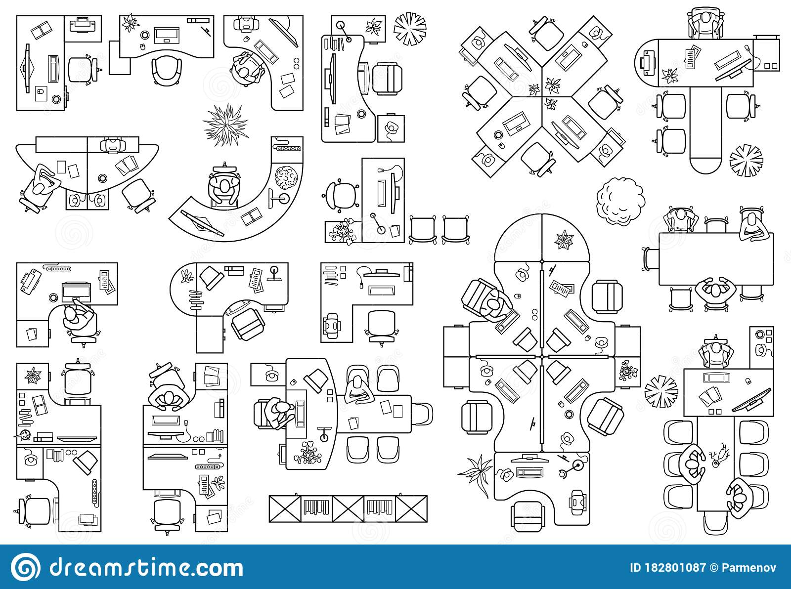 Desks Working Table System Of Office Equipment Floor Plan Of Office Or Cabinet In Top View Vector Stock Vector Illustration Of Icon Floor 182801087