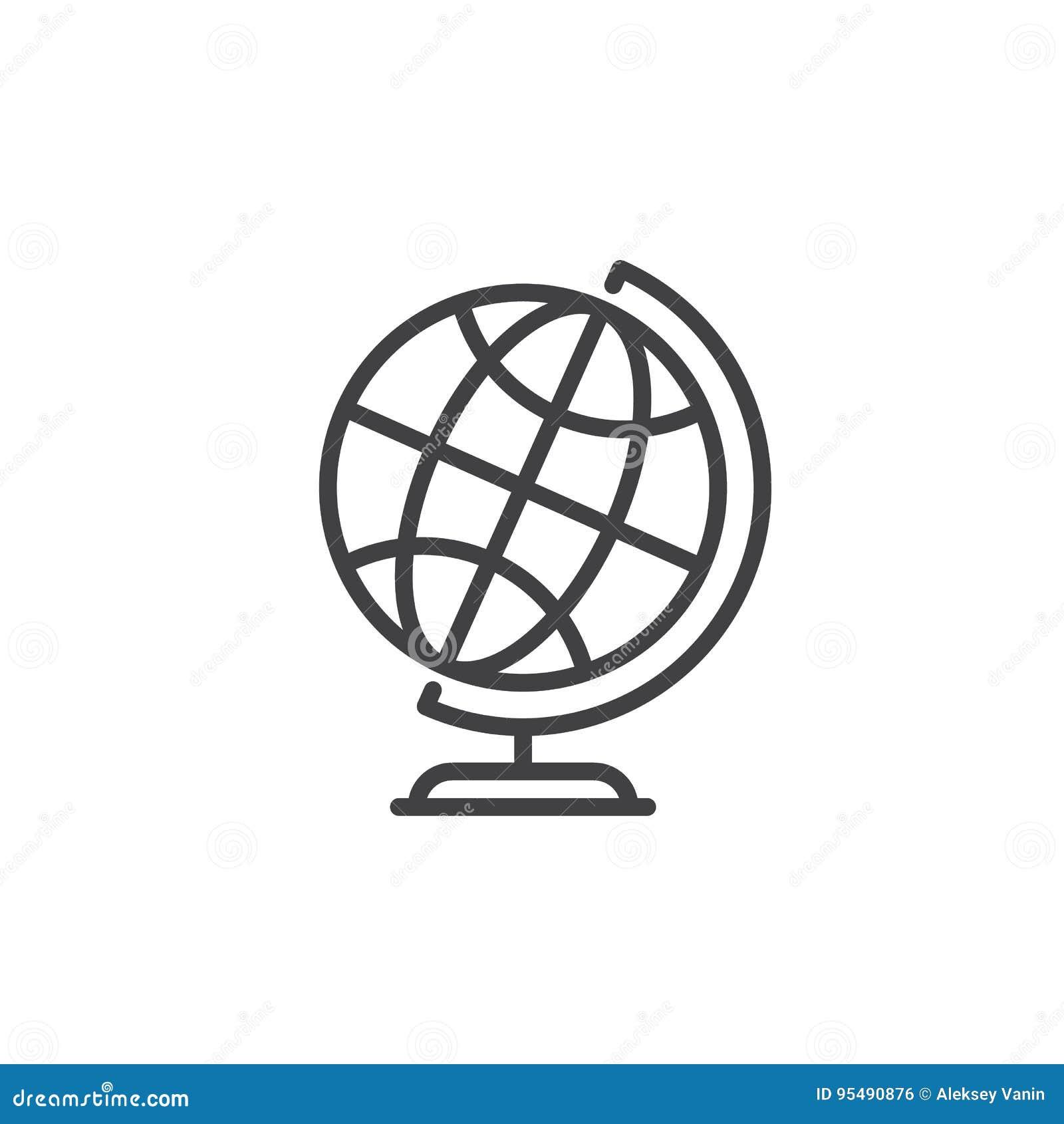 Desktop światu ziemi kuli ziemskiej linii ikona, konturu wektoru znak, liniowy stylowy piktogram odizolowywający na bielu