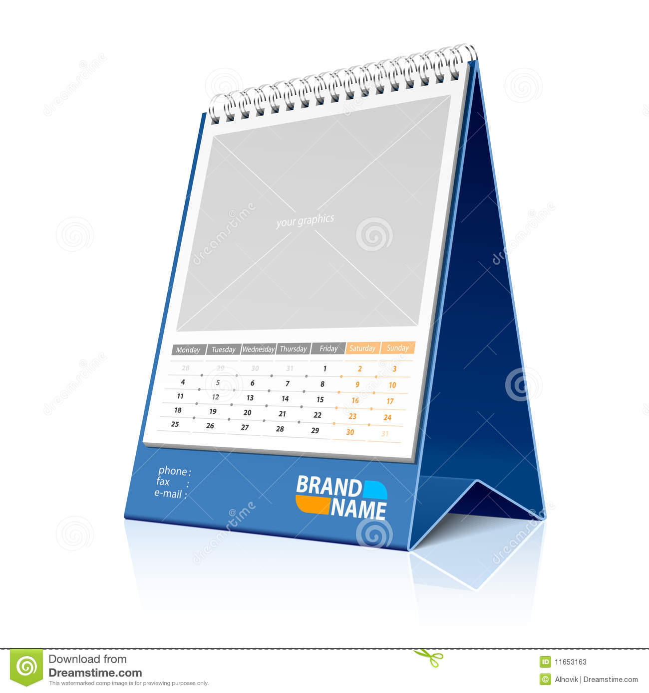Vector illustration of a desktop calendar detailed portrayal place