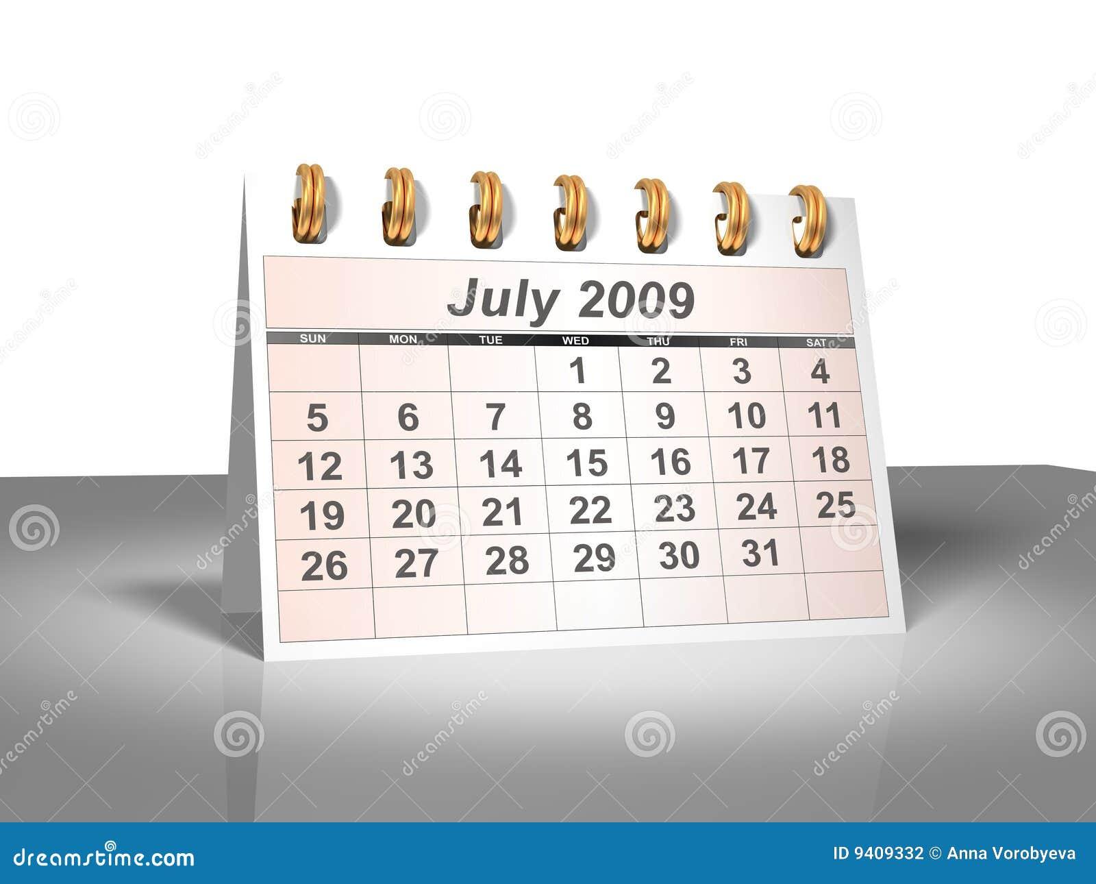 Desktop Calendar (3D). July, 2009.