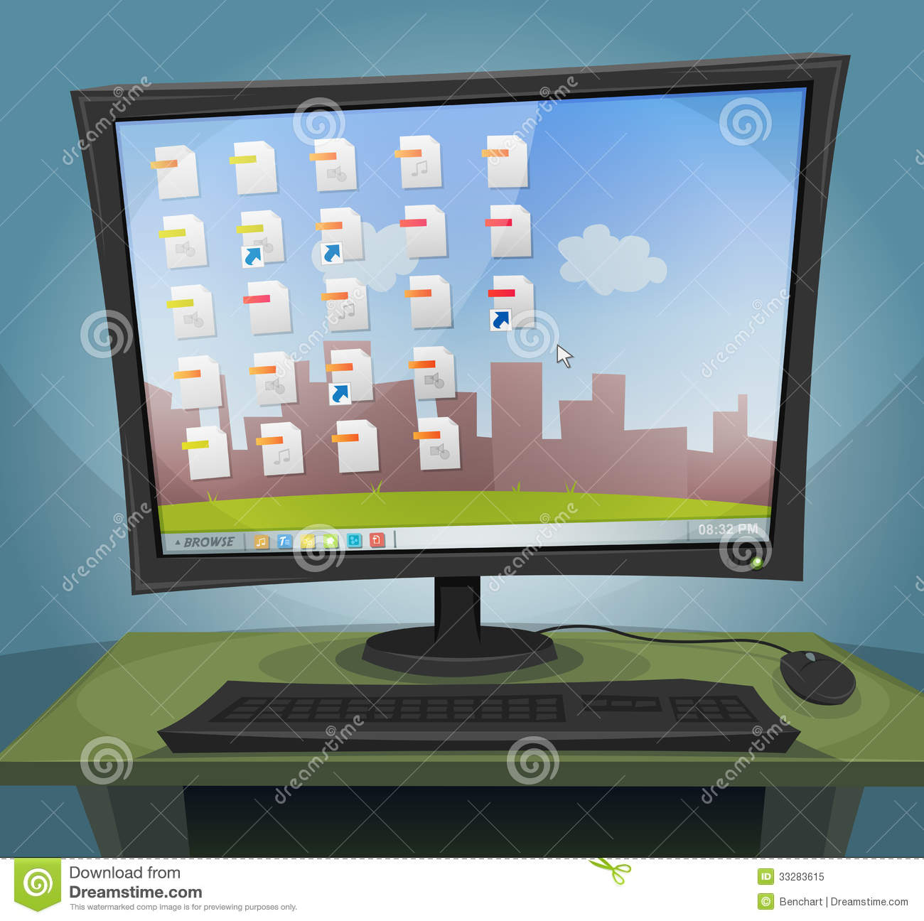 desktop computer with operating system on screen stock vector