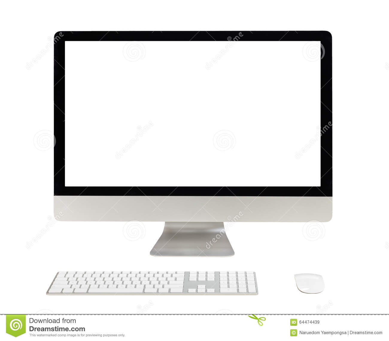 Desktop Computer With White Screen Stock Image - Image of electronic