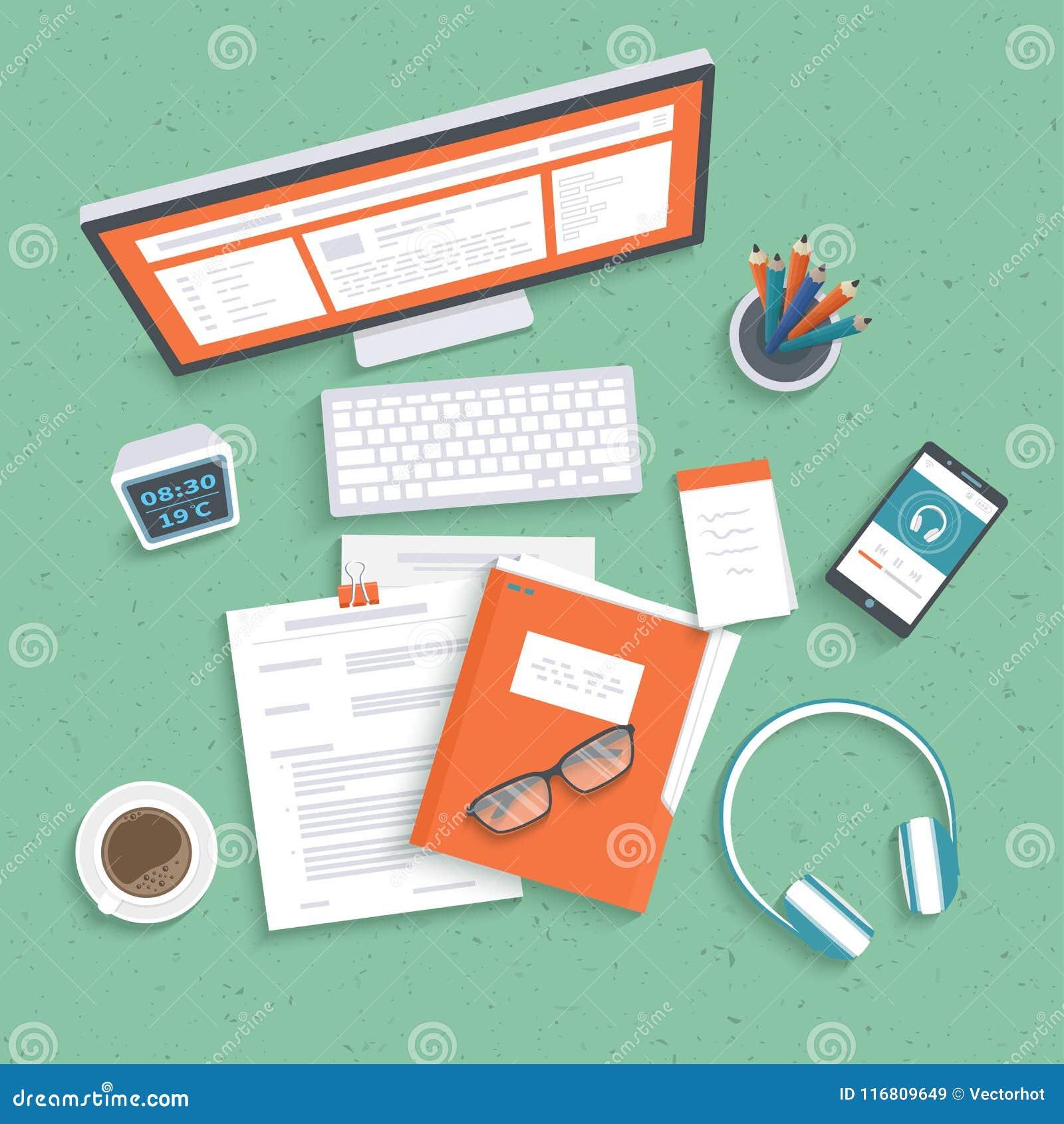 Desktop con il monitor, tastiera, documenti, cartella, cuffie, telefono Vista del piano d appoggio Fondo del posto di lavoro