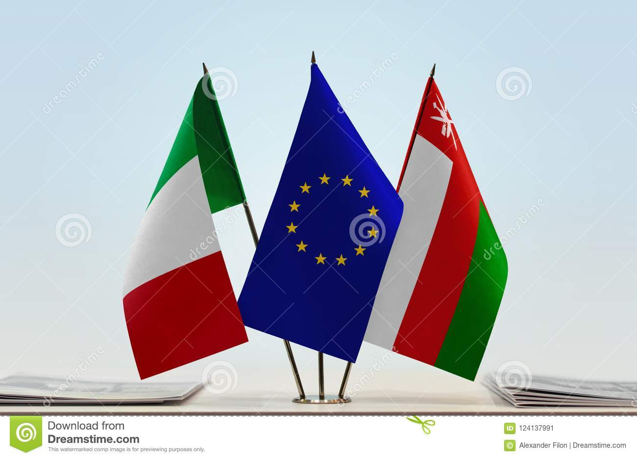 Flags of Italy EU and Oman