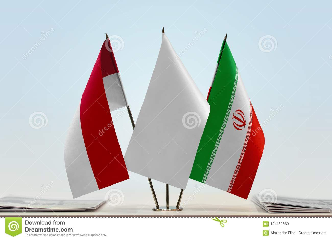 Flags of Monaco and Iran