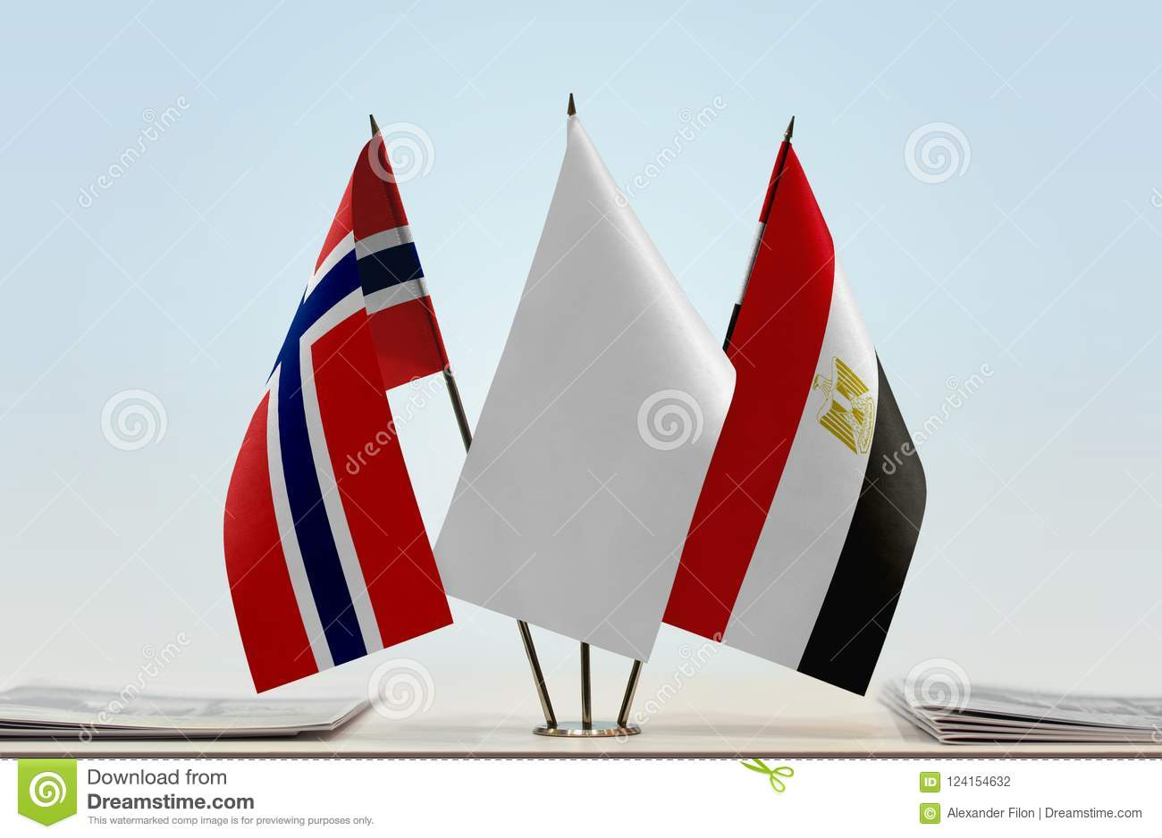Flags of Norway and Egypt