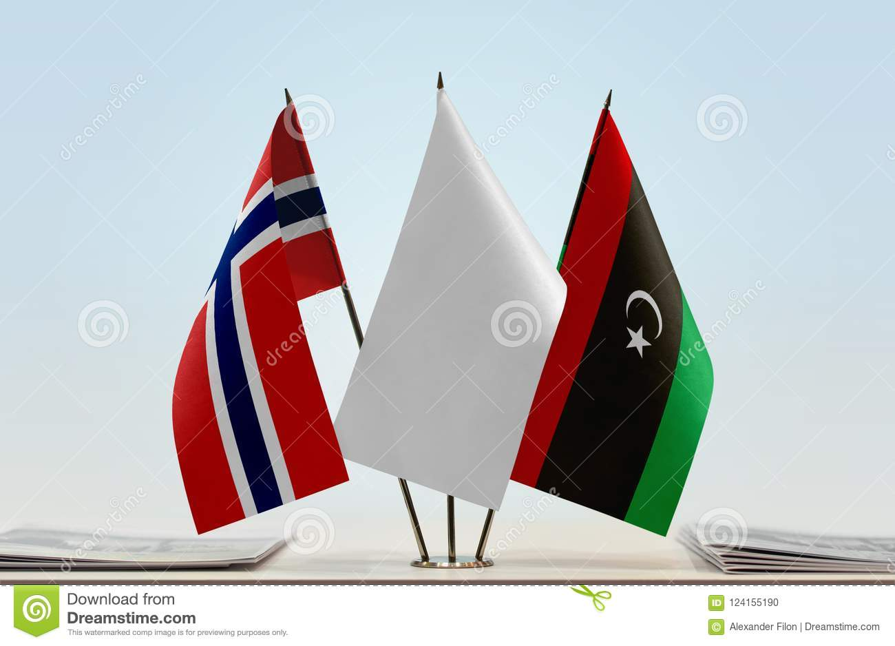 Flags of Norway and Libya