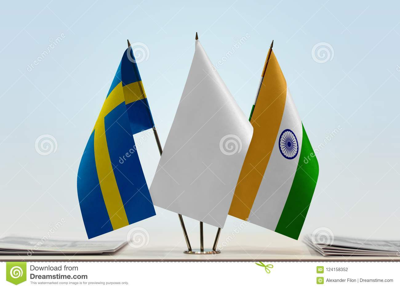 Flags of Sweden and India