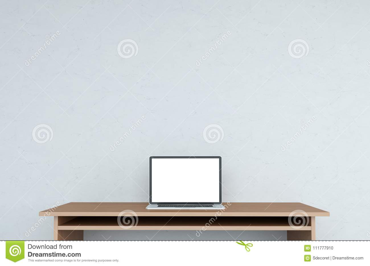 Modern desktop interior with laptop 3D rendering