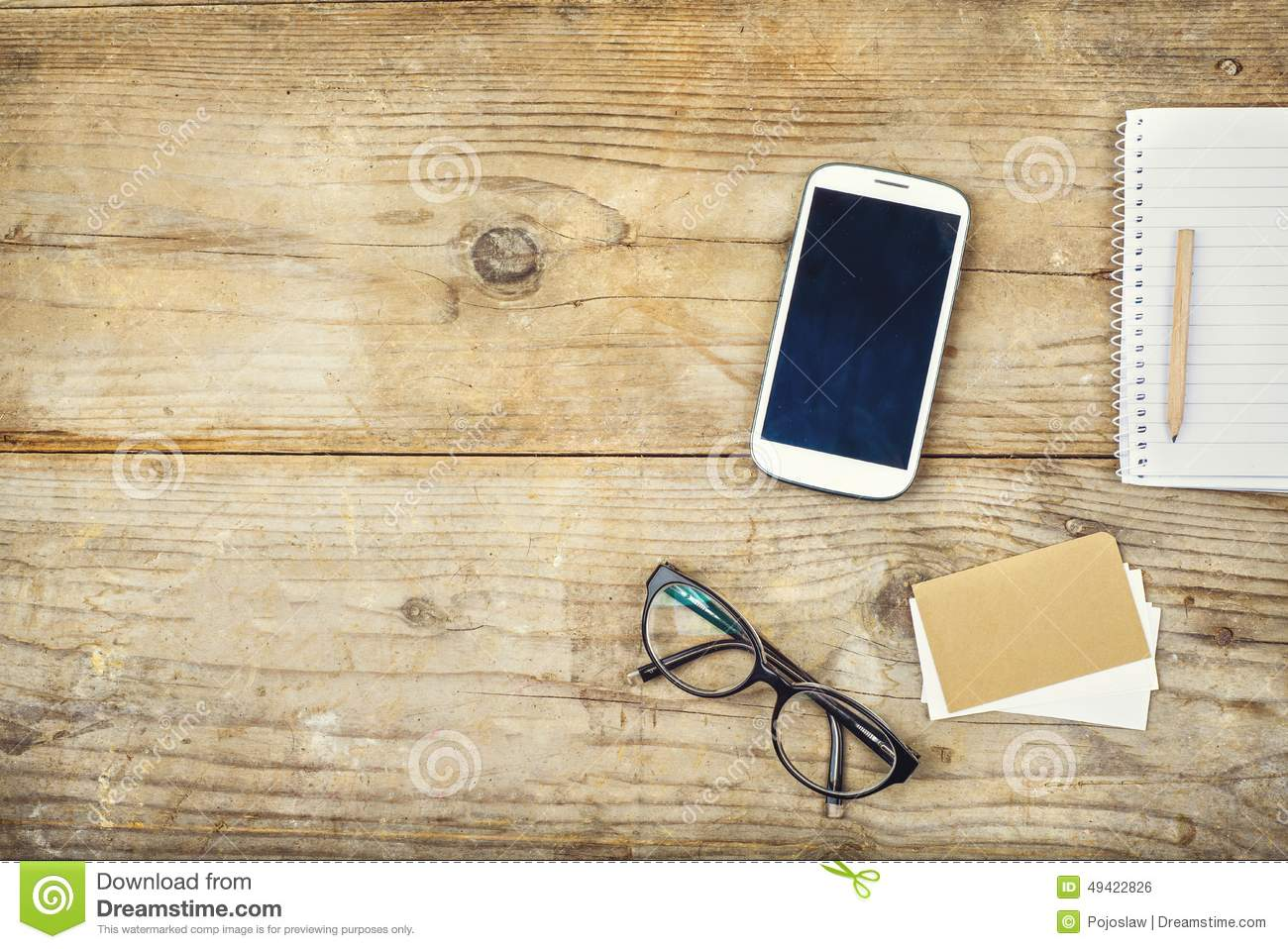 Desktop Mix On A Wooden Office Table Stock Photo Image