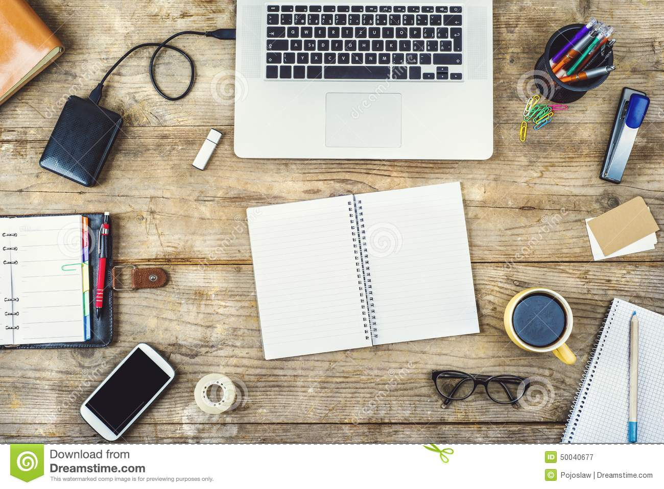 Desktop Mix On A Wooden Office Table. Stock Image