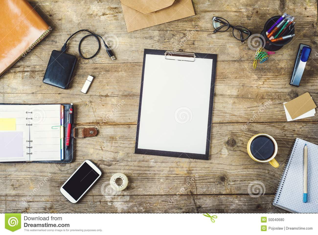 Desktop Mix On A Wooden Office Table. Stock Photo - Image: 50040680
