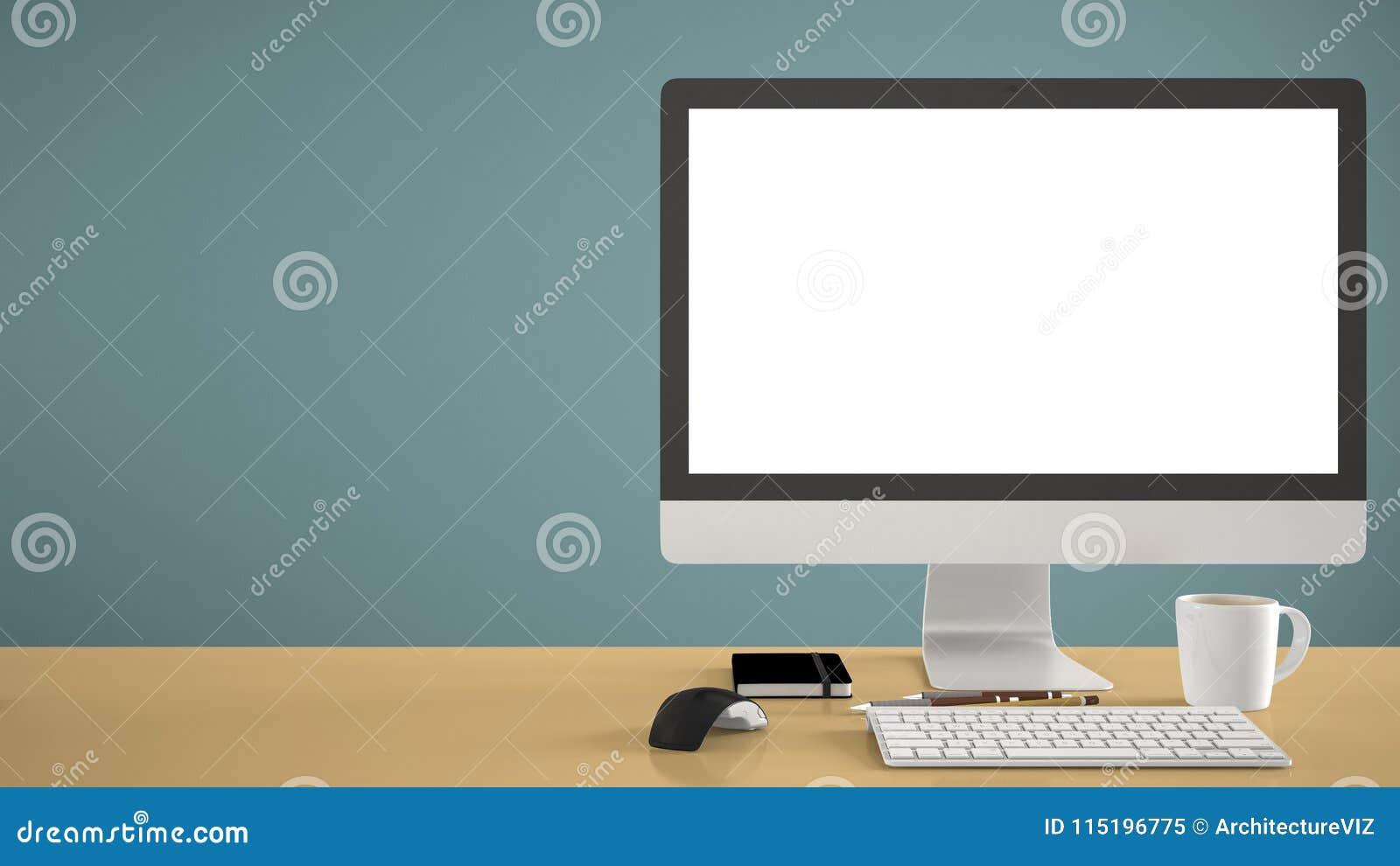 Desktop mockup, szablon, komputer na żółtym pracy biurku z pustym ekranem, klawiaturowa mysz i notepad z, piórami i ołówkami, błę