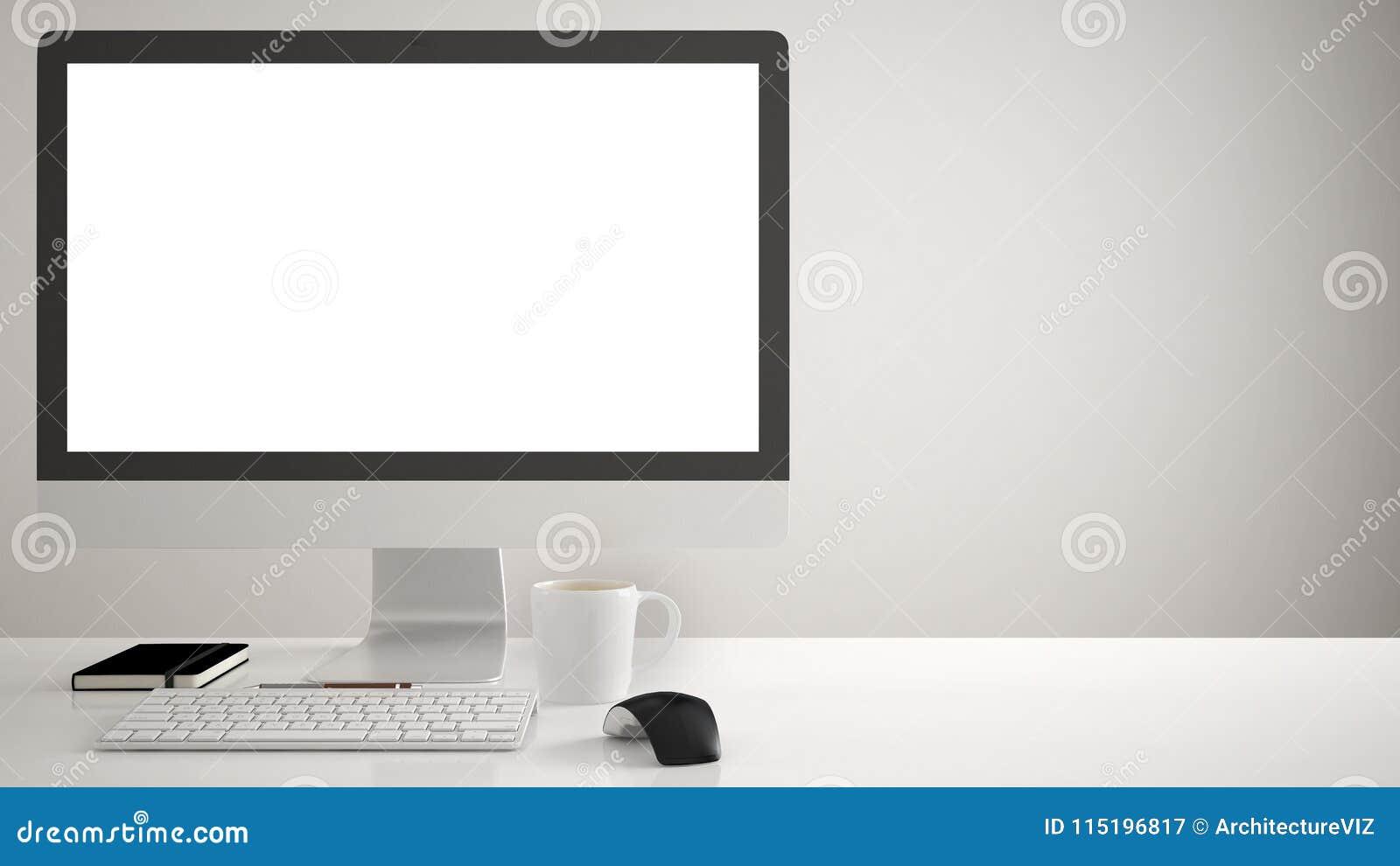 Desktop mockup, szablon, komputer na pracy biurku z pustym ekranem, klawiaturowa mysz i notepad z, piórami i ołówkami, biały back