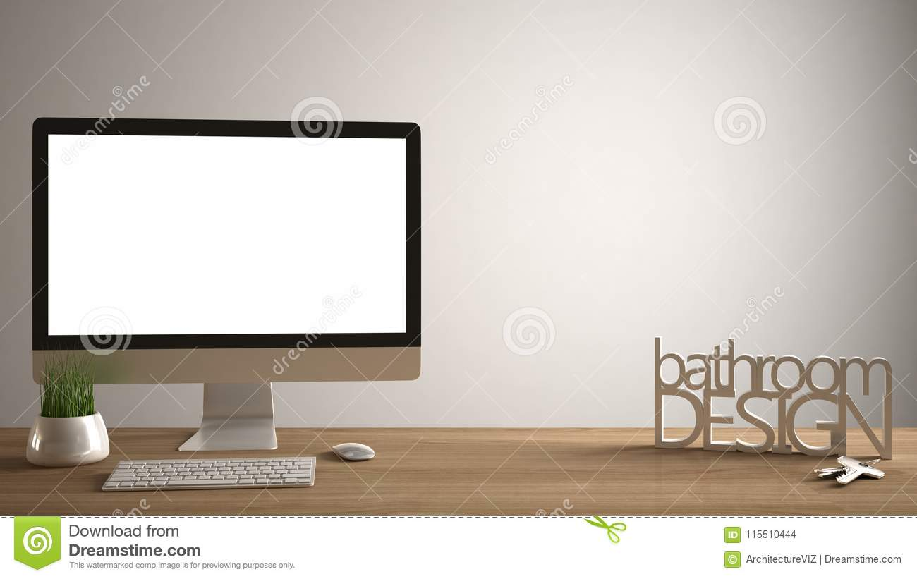 Desktop Mockup, Template, Computer On Wooden Work Desk With Blank Screen,  House Keys, 3D Letters Making The Words Bathroom Design, White Copy Space  ...