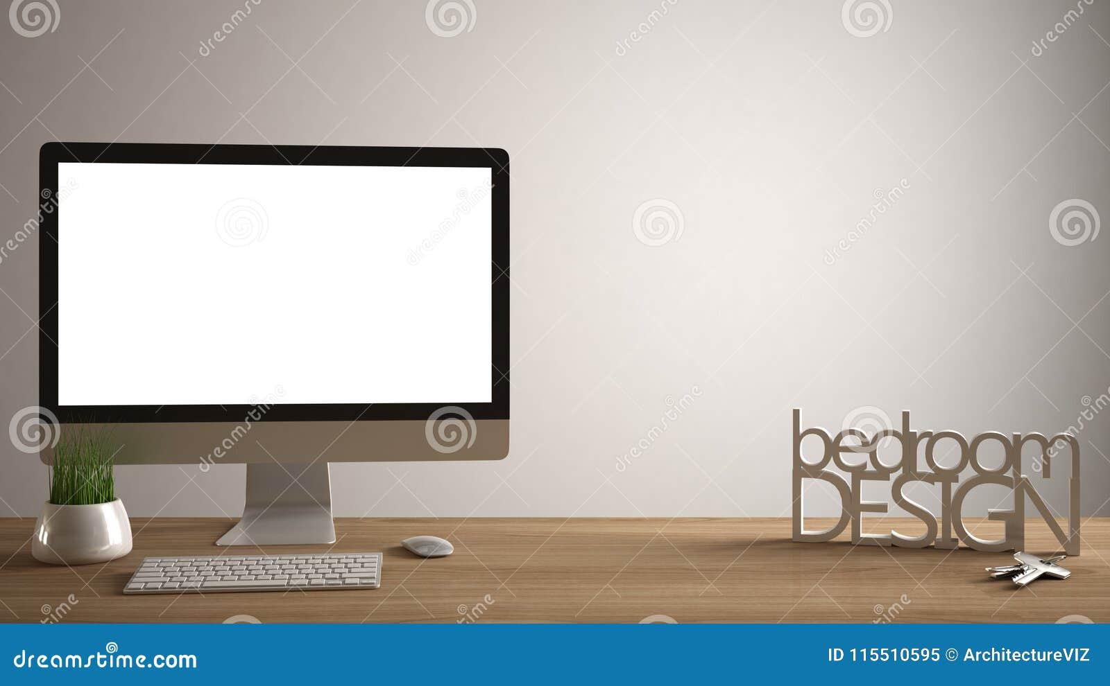Desktop Mockup, Template, Computer On Wooden Work Desk ...