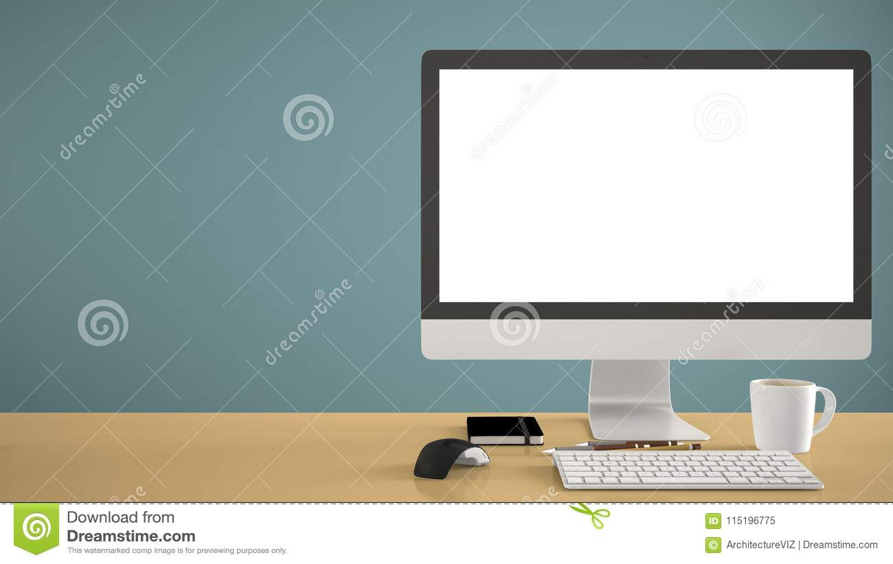 Desktop mockup, template, computer on yellow work desk with blank screen, keyboard mouse and notepad with pens and pencils, blue p