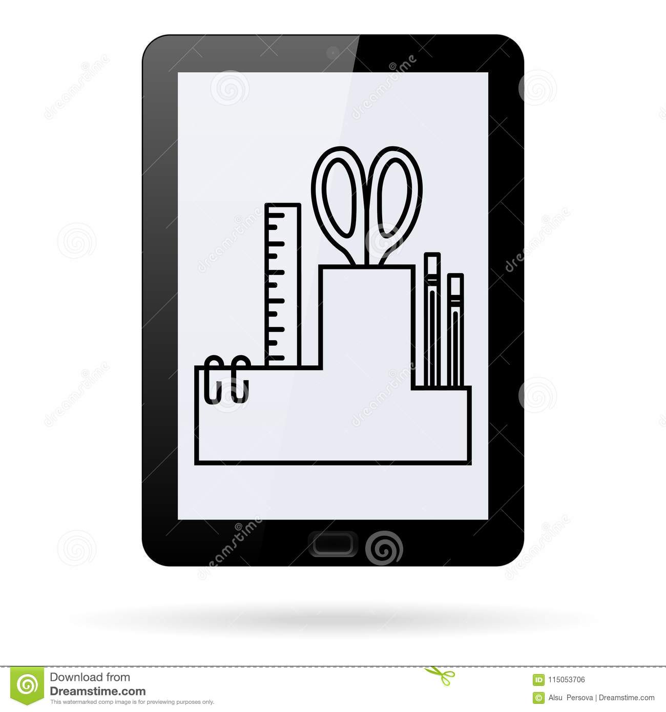Desktop Organizer Line Icon For Stationery Tools On A Realistic Tablet