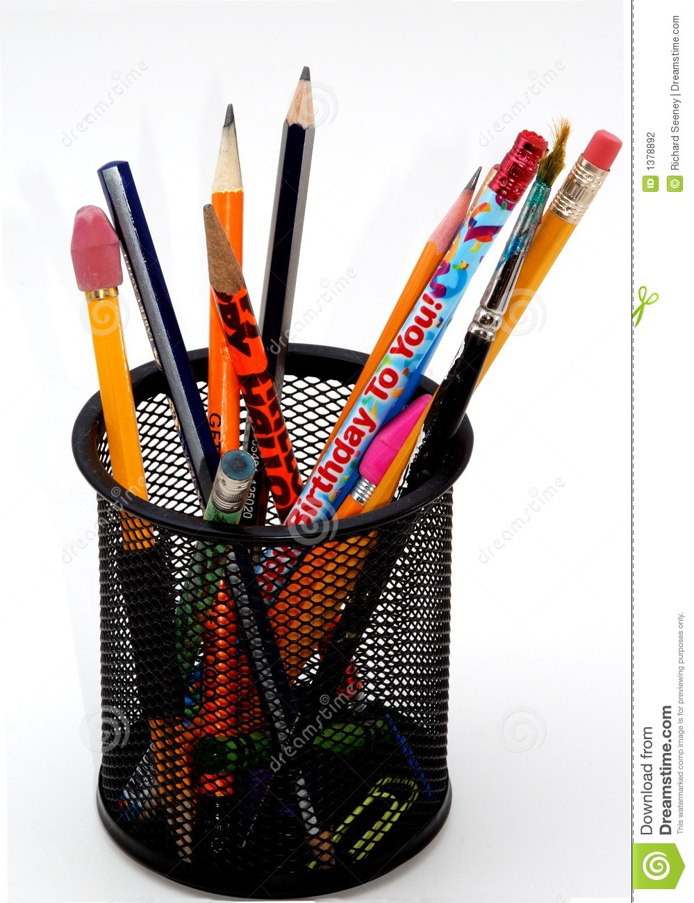 Pencil And In Color Drawing: Desktop Pencil Holder Stock Photography