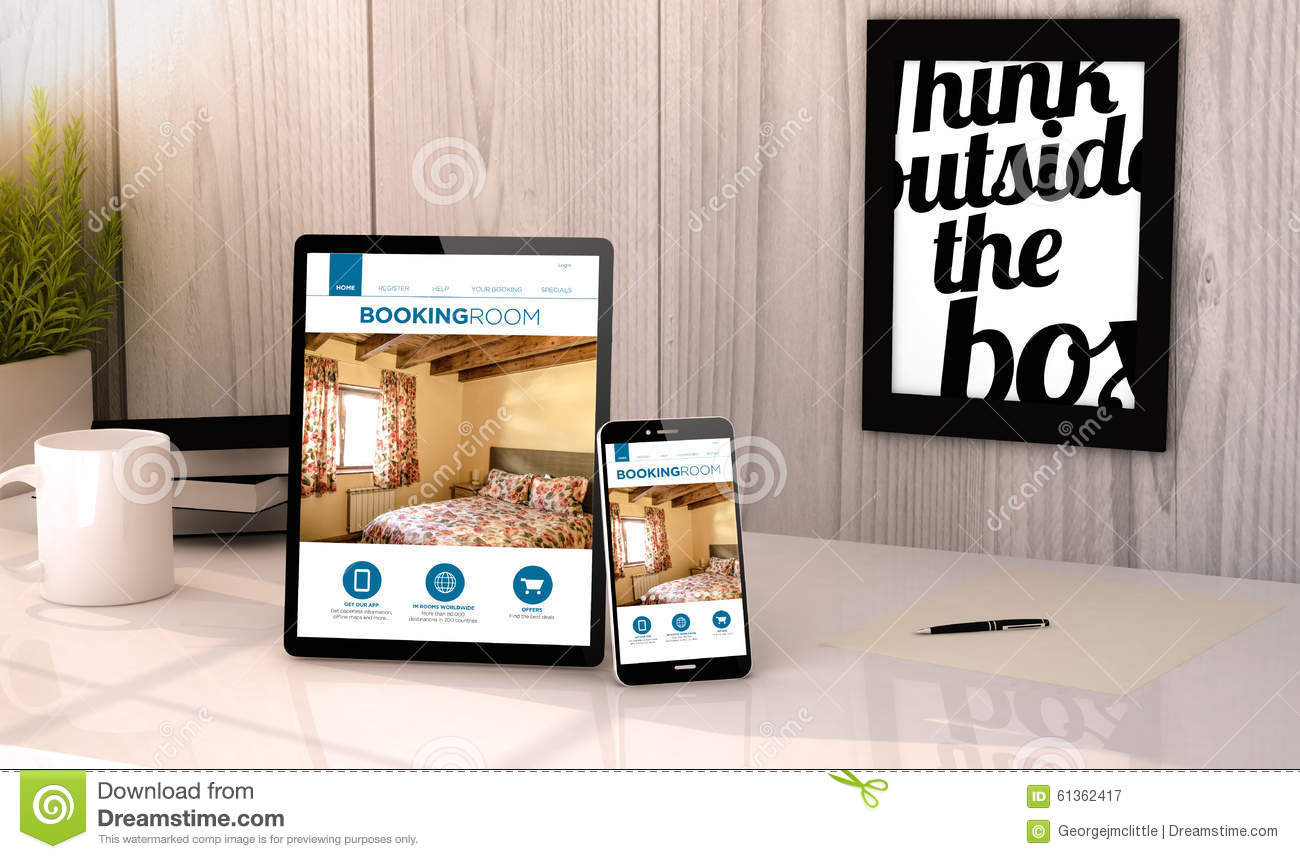 Desktop tablet and phone booking hotel reservation stock for Tablet hotel booking
