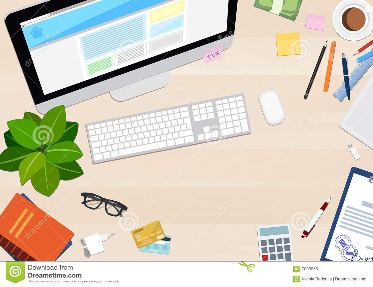 Different business objects on wooden desk stock for The best online store