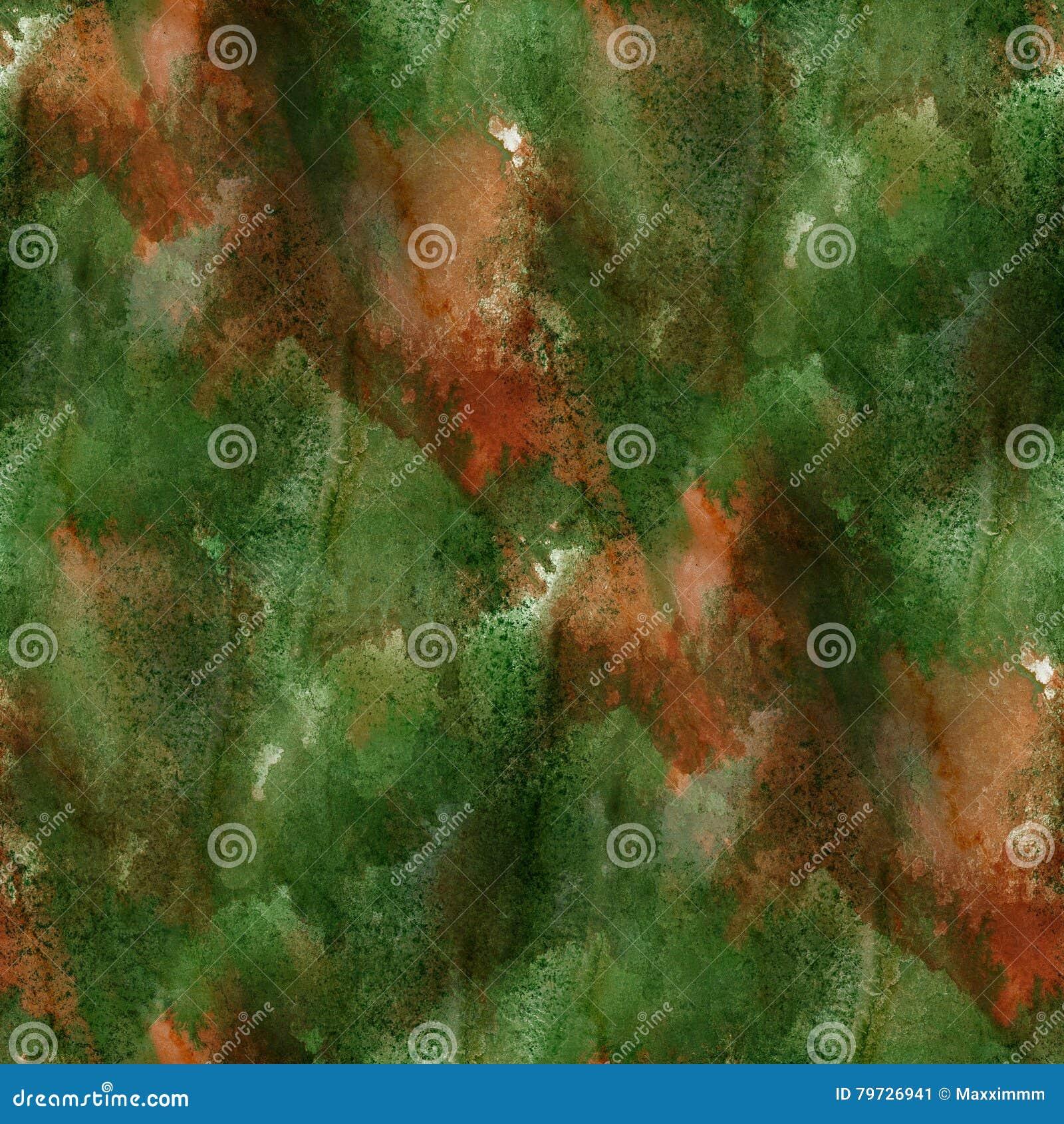 Deslúmbrese de textura inconsútil de la acuarela de la pintura con las manchas marrones verdes y raya arte